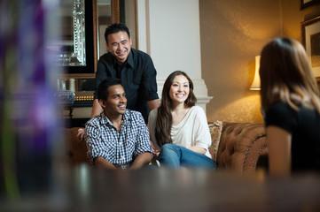 Multiracial friends gathering