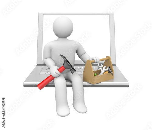 Repairman with notebook