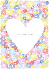 vector illustration with flowers,heart and place for your text