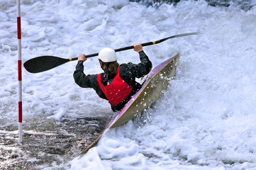 White water slalom kayaker