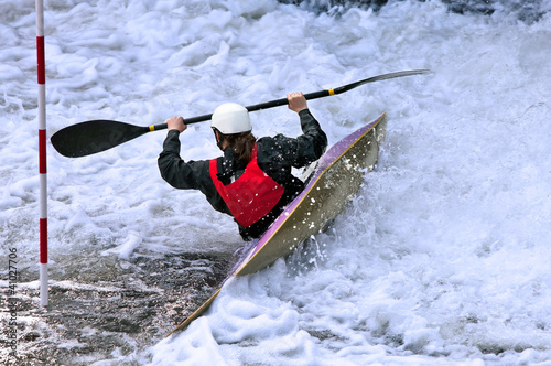 White water slalom kayaker