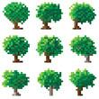 Set of green pixel tree.
