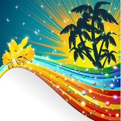 Notte Tropicale Onda e Palme-Tropical Night Color Wave