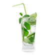 Fresh mojito drink over white background
