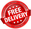 "Button Banner ""Free Delivery"" Red"