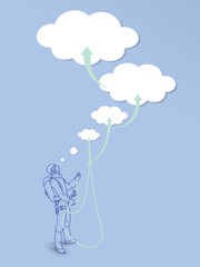 Conceptual illustration of climber with dreamed goals