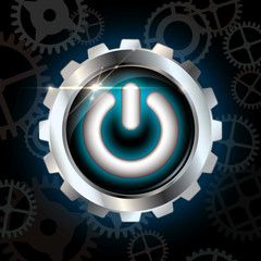 Blue power on metallic vector button with gears