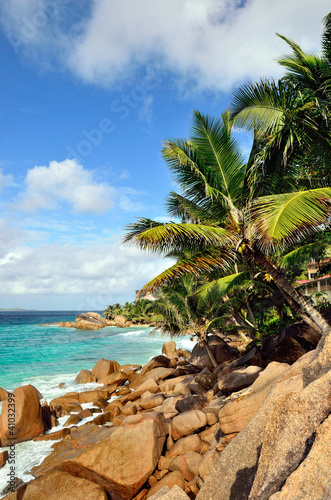 Tropical coastline on Seychelles island