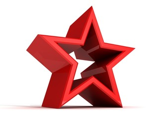 Perfect abstract red star on white background
