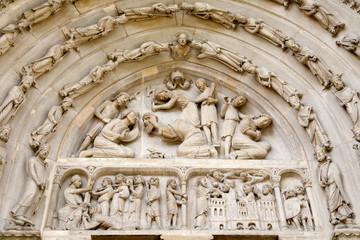 Paris - detail from side east portal of Saint Denis  -