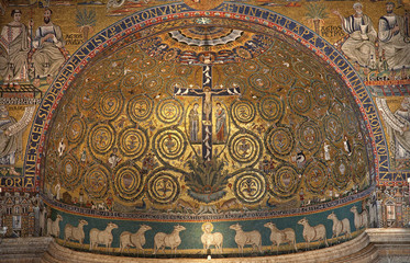 Rome - mosaic of Jesus on the cross from San Clemente church