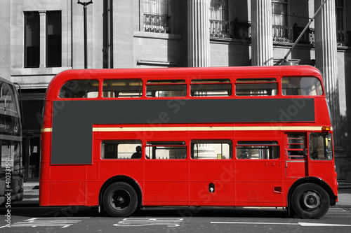 Poster Rood, zwart, wit London Route Master Bus
