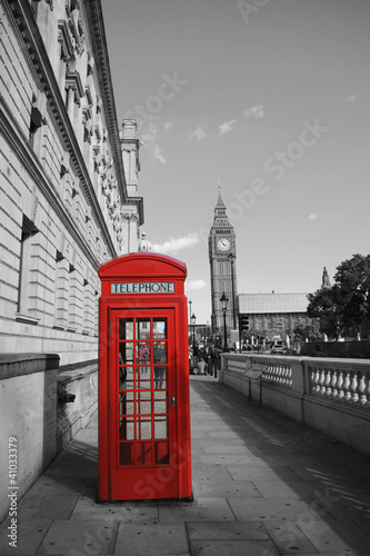 Fotobehang Rood, zwart, wit Big Ben and Red Phone Booth