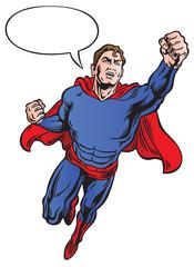 Superhero with speech bubble