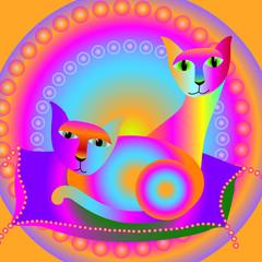 coppia di gatti sul cuscino
