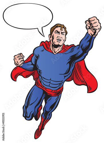 Superhero with speech bubble