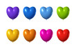 colored heart shape balloons set isolated on white