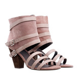 Ladies ankle high summer shoes over white poster