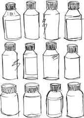 Sketch of bottles. Vector illustration