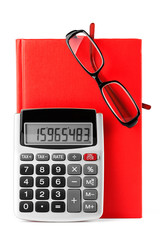 Diary, glasses and calculator
