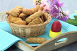 Butter shortbread biscuits and Easter egg on the table
