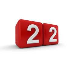 Red 3D block with number twenty two
