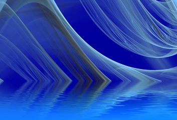 River. Abstract background, fractal design over water reflection