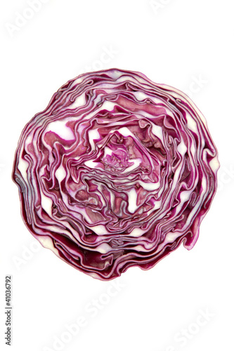 Purple cabbage,A sliced down the middle head of purple cabbage