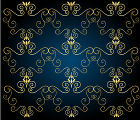 Vintage background with golden shapes