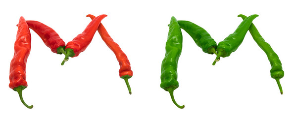 Letter M composed of green and red chili peppers