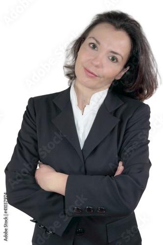 Geschäftsfrau amüsiert