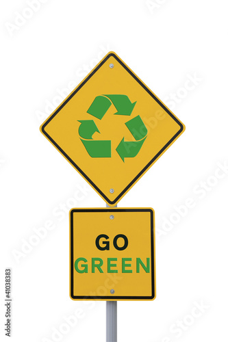 """Go Green"" Sign on White with Clipping Path"