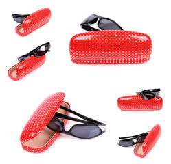 Women's Sunglasses in the red pouch isolated