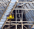 workers make roof construction of new stadium