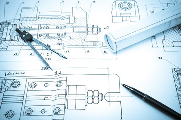 Blueprint drawing of industry detail, creativity concept