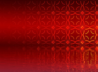 Abstract background, fractal design over water reflection. cosmi