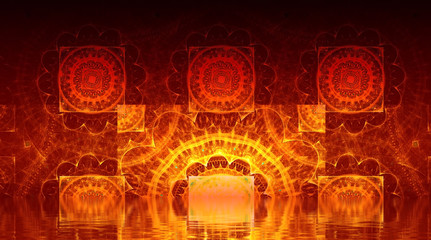 Hell. Abstract background, fractal design over water reflection.