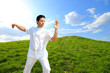 Man in white cloth in the morning at hill background