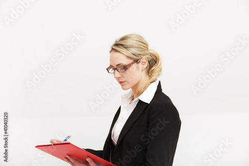 Conscientious secretary concentrating