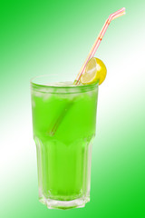 cocktail green on green and white background