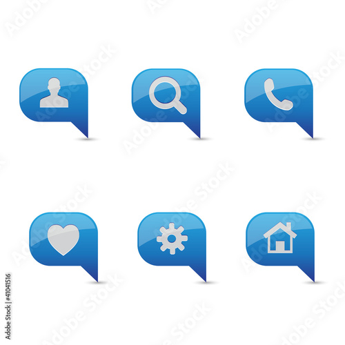 Blue icon set vector