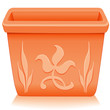 Square Clay Flowerpot Planter, embossed, engraved floral design