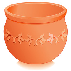 Round Clay Flowerpot Planter, embossed, engraved floral design