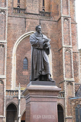 Statue of Hugo Grotius in Delft,  Netherlands