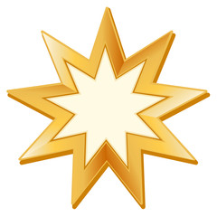 Baha'i Symbol, golden nine pointed star, icon of Baha'i faith
