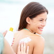 Sunscreen lotion on beach