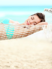 Vacation woman relaxing on beach