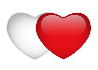 Glass Red and White Heart
