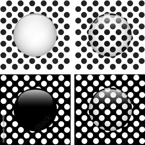 Set of Four Glass Circle Black and White Dots