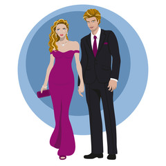 Joven pareja vestida de noche